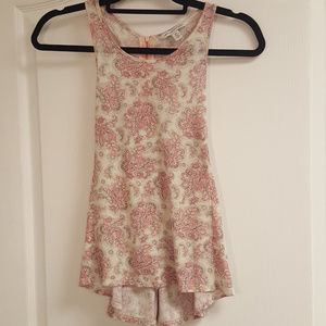 American Eagle Pink Paisly Racerback Tank Top